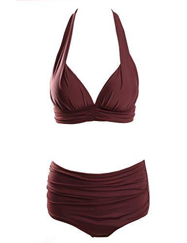 4feca6c5ecb Surenow Womens Retro 50s Halter High Waist Bikini Carniva... | Swim ...