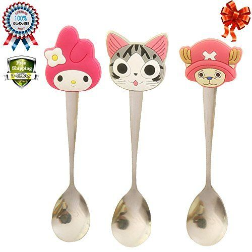 Baby Kids Cute Cartoon Fashion Silicone Handles Stainless Steel Feeding Spoon Stirring Coffee Spoon (#2)