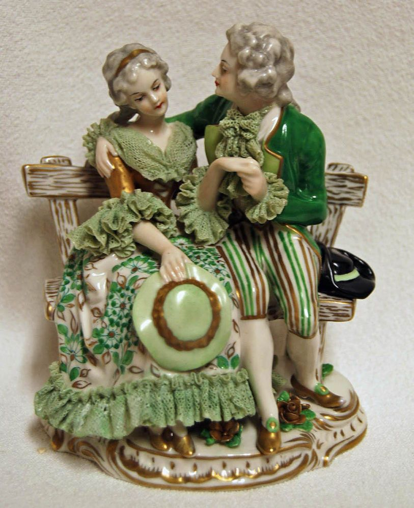 Antique Volkstedt Dresden Lace Porcelain Grouping Figurine