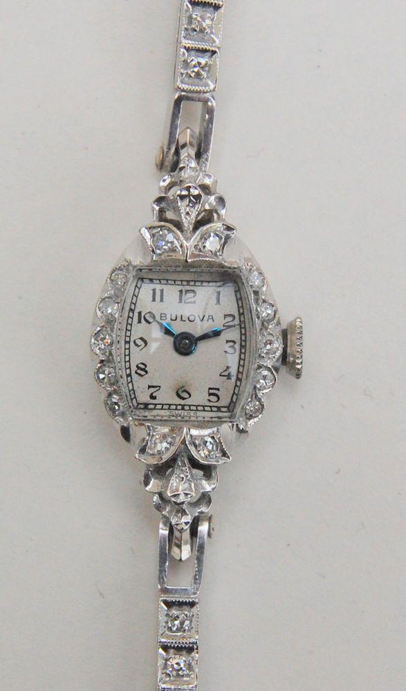 Bulova 14k White Gold And Diamond Deco Vintage Ladies