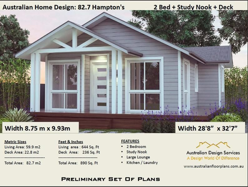 2 Bedroom Small Home Design Livinig Area 636 Sq Feet Or 59 9 M2 Hamptons Style 2 Bed Study Granny Flat Under 1200 Sq Foot House Plans In 2020 House Plans