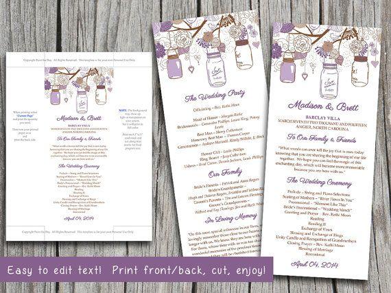 Mason Jars Wedding Program Microsoft Word Template Purple - program templates word