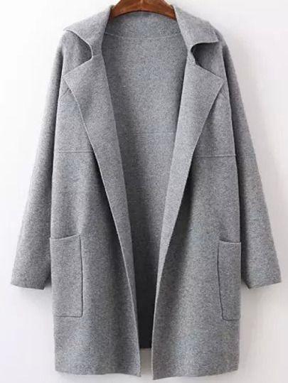Shein Langarm Mantel Taschen German Grau Sweater Mit iTkuOPXZ