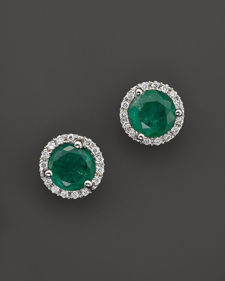 Bloomingdale S Emerald And Diamond Halo Stud Earrings In 14k White Gold 100 Exclusive