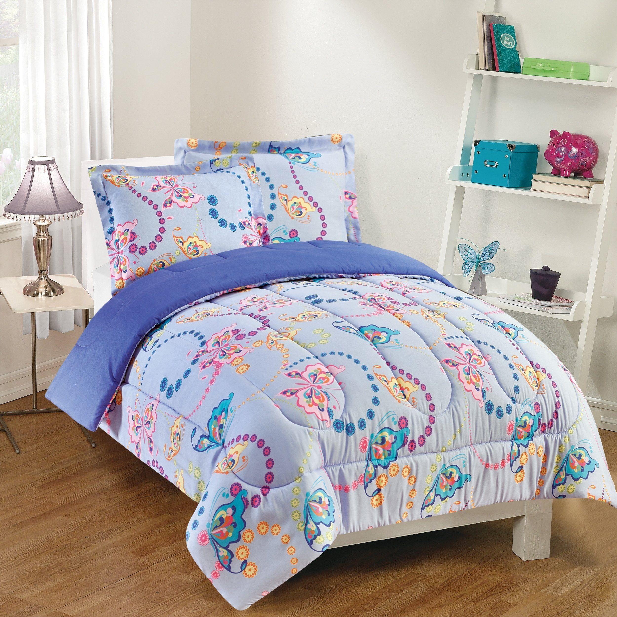 Gizmo Kids Flutter Comforter Set Twin 2 Piece Purple