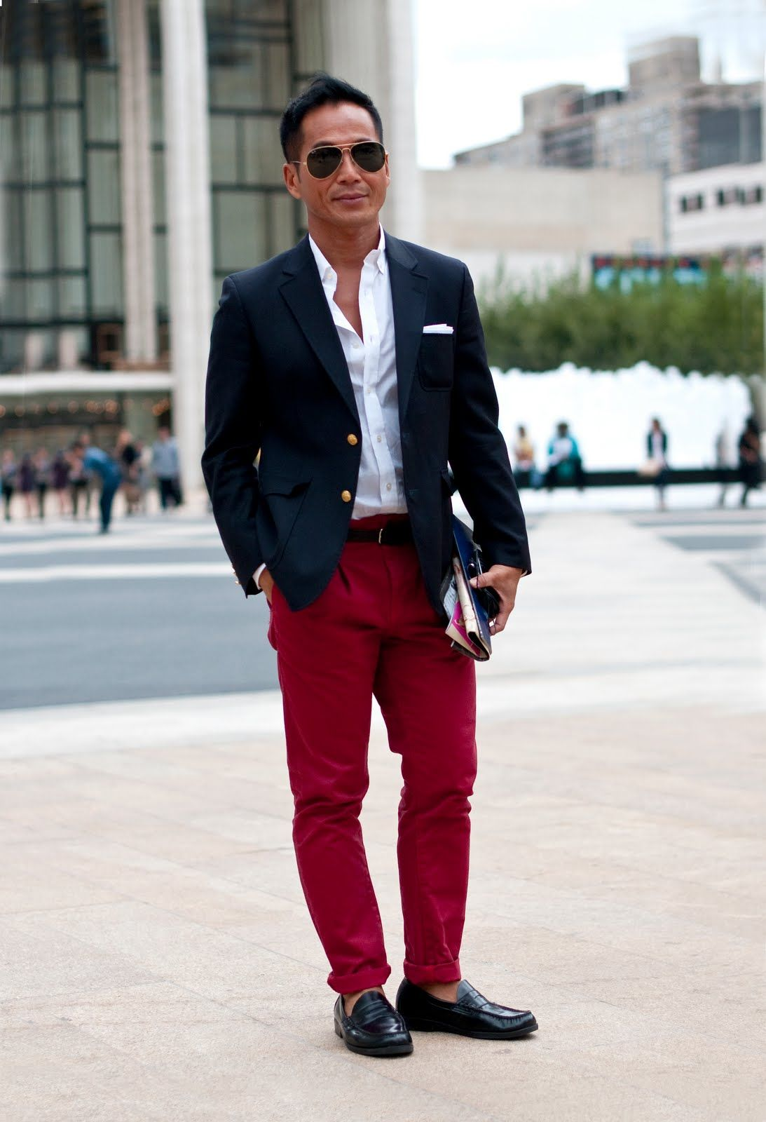 How does one successfully wear red pants  Take one.  8358ba2c2