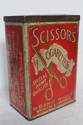 Antique Vintage SCISSORS CIGARETTES Advertising Litho TIN BOX LONDON