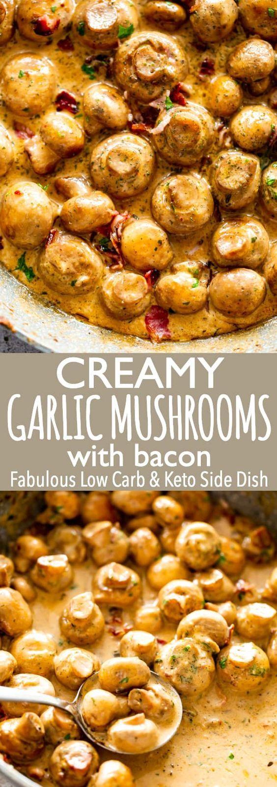 Keto creamy garlic mushrooms & bacon