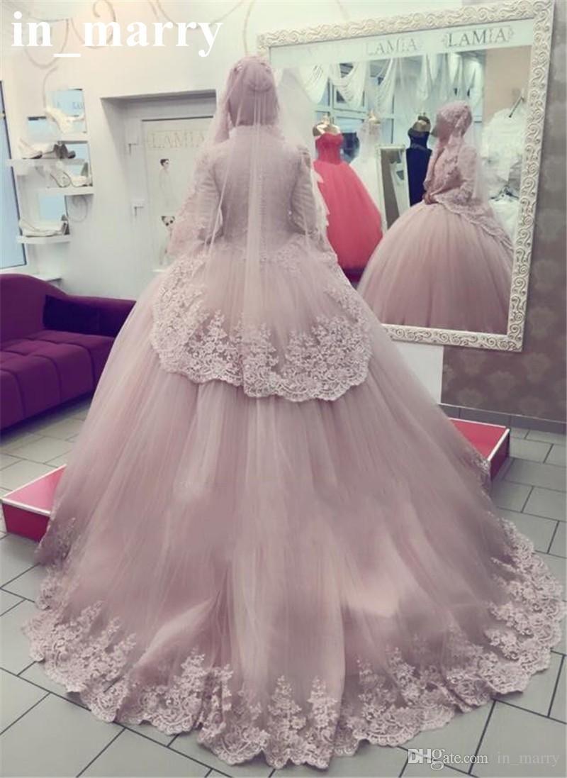 2017 Blush Pink Islamic Kaftan Wedding Dresses Ball Gown High Neck Long  Sleeves Vintage Lace Plus 9865831f4ed0