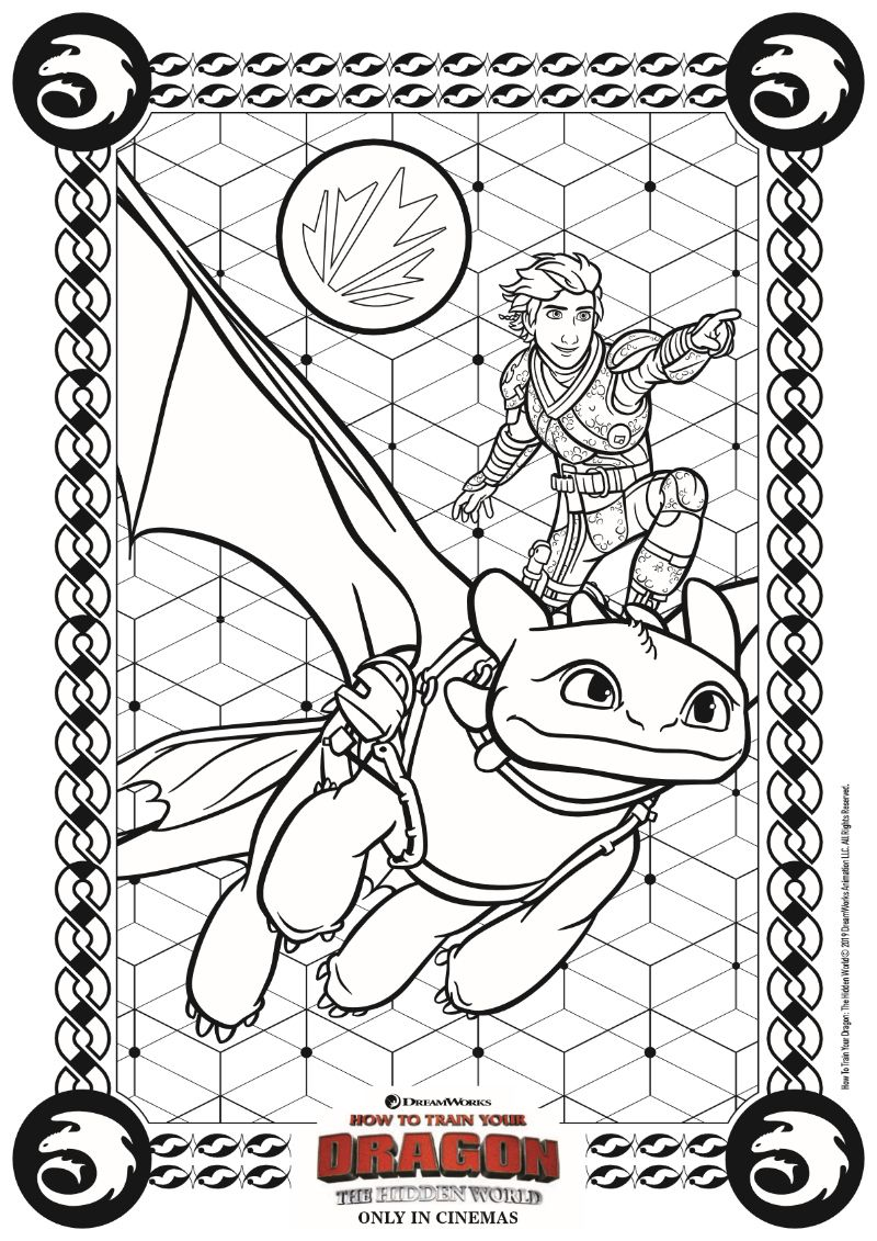 Hidden World Coloring Page from HTTYD7 - How to Train Your Dragon