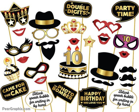 10th Birthday Photo Booth Props Girl Boy Decorations Selfie