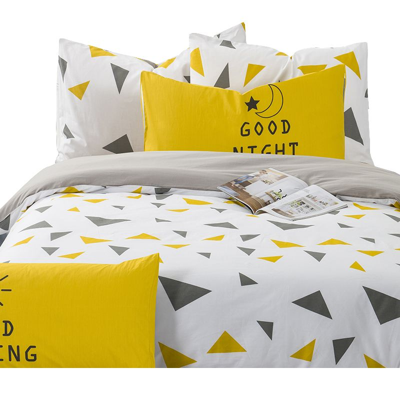Cotton Duvets And Bedding Sets Black Yellow Triangles Pattern Print Duvet Cover King Queen Twin Size Bed Yellow Bedding Yellow Bed Covers Twin Size Bed Covers