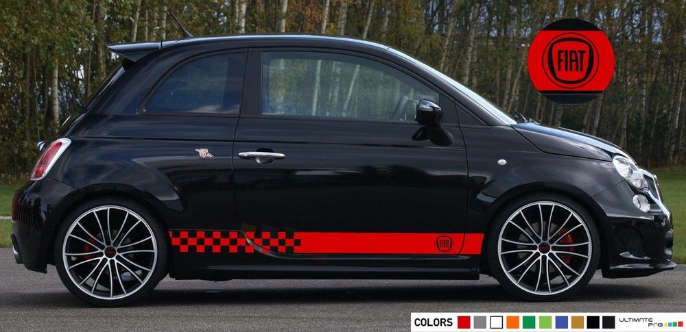 Stickers Decal For Fiat 500 Abarth Stripes Lip Side Carbon Bumper Tune Racing Ultimateprocy1