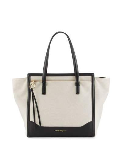 Salvatore Ferragamo Amy Medium Canvas Tote Bag, Naturale/Nero ...