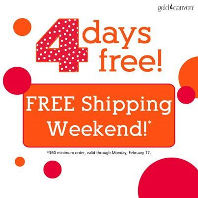 4 Days Free! Now through Monday, order from your Consultant's personal website and get FREE SHIPPING on orders of $60 or more. But hurry! This sweetheart of a deal ends on Monday! www.sonyandave.mygc.com