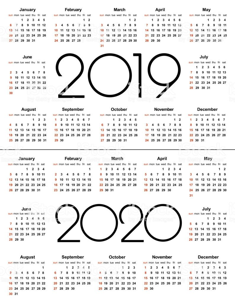 Calendar 2019 and 2020 year. Simple Vector Template