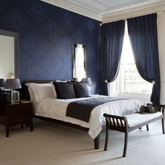 Best Pin By Angie On Noir Walls Dark Blue Bedrooms Navy Blue 400 x 300