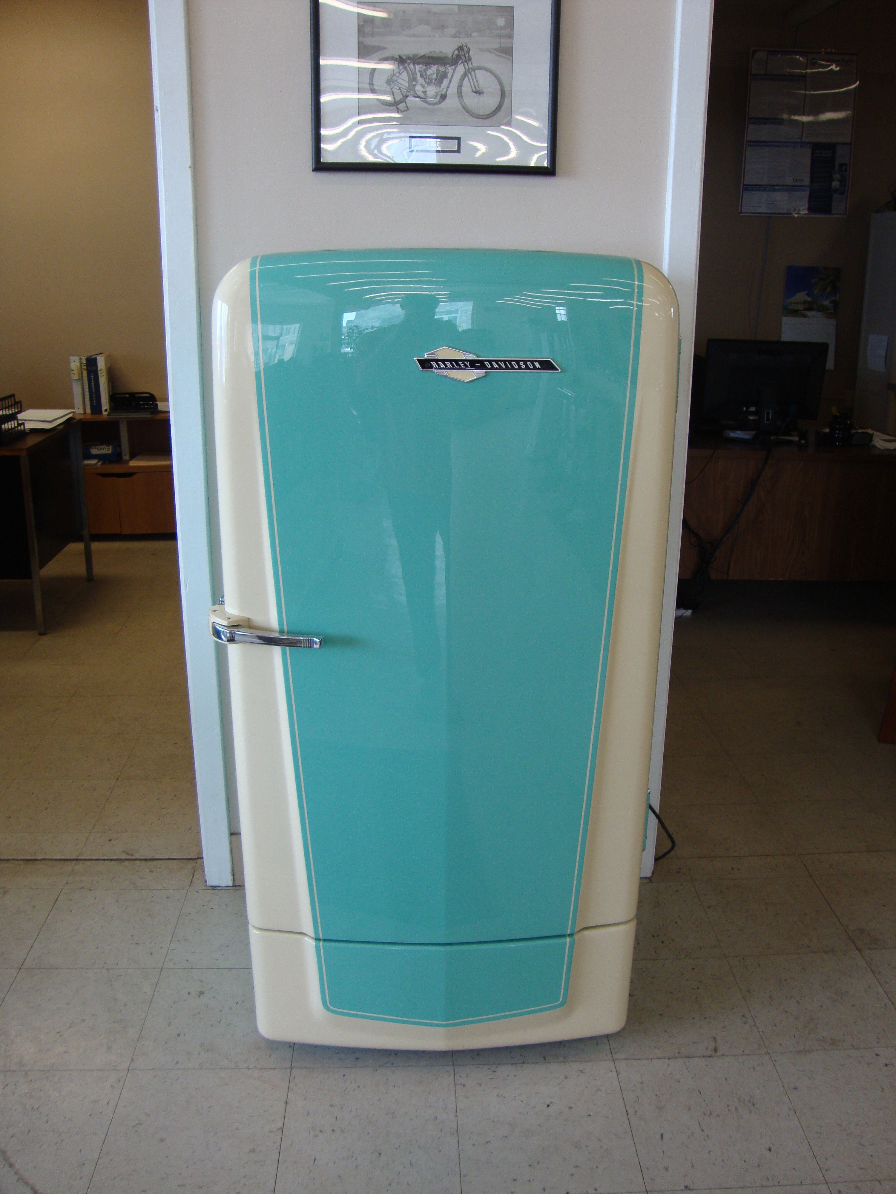 Custom 1950s Coldspot refrigerator with Harley-Davidson theme, full ...