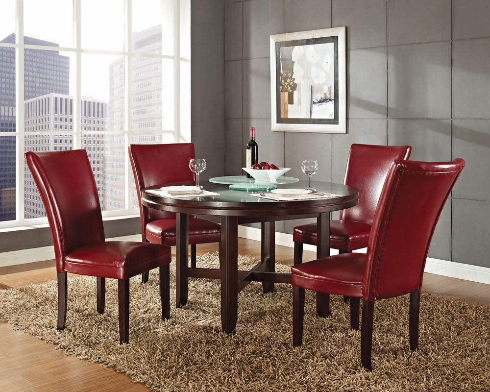 Steve Silver 5 Piece 52 Inch Round Hartford Dining Room Set In Oak Dining Table In Kitchen Round Dining Room Round Dining Room Sets