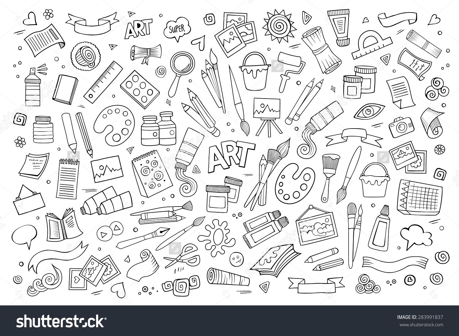 Art And Craft Hand Drawn Vector Symbols And Objects