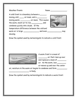 Weather Fronts Worksheet Weather Fronts Warm Front Cold Front