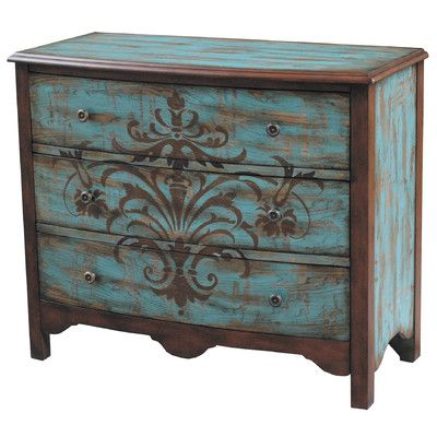 Pulaski 5 Drawer Chest   ~  painted furniture folk art stencil ---thinking similar color for arm. in dining room with giant stencil like this-----