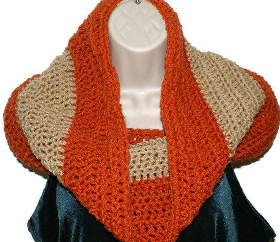 Women's Crochet Infinity Scarf Orange and Tan Cowl by lanacooper, $28.00