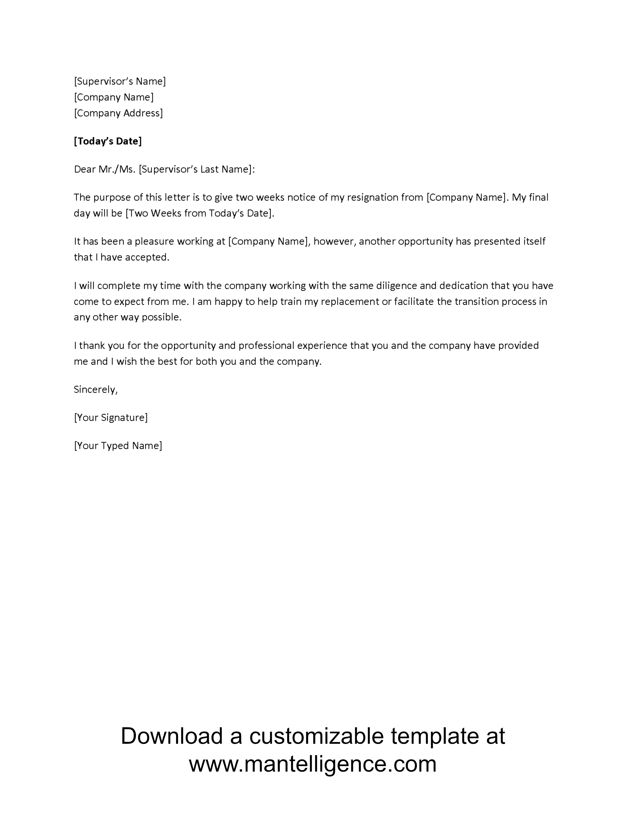 Elegant 3 Highly Professional Two Weeks Notice Letter Templates And 2 Week Notice Template