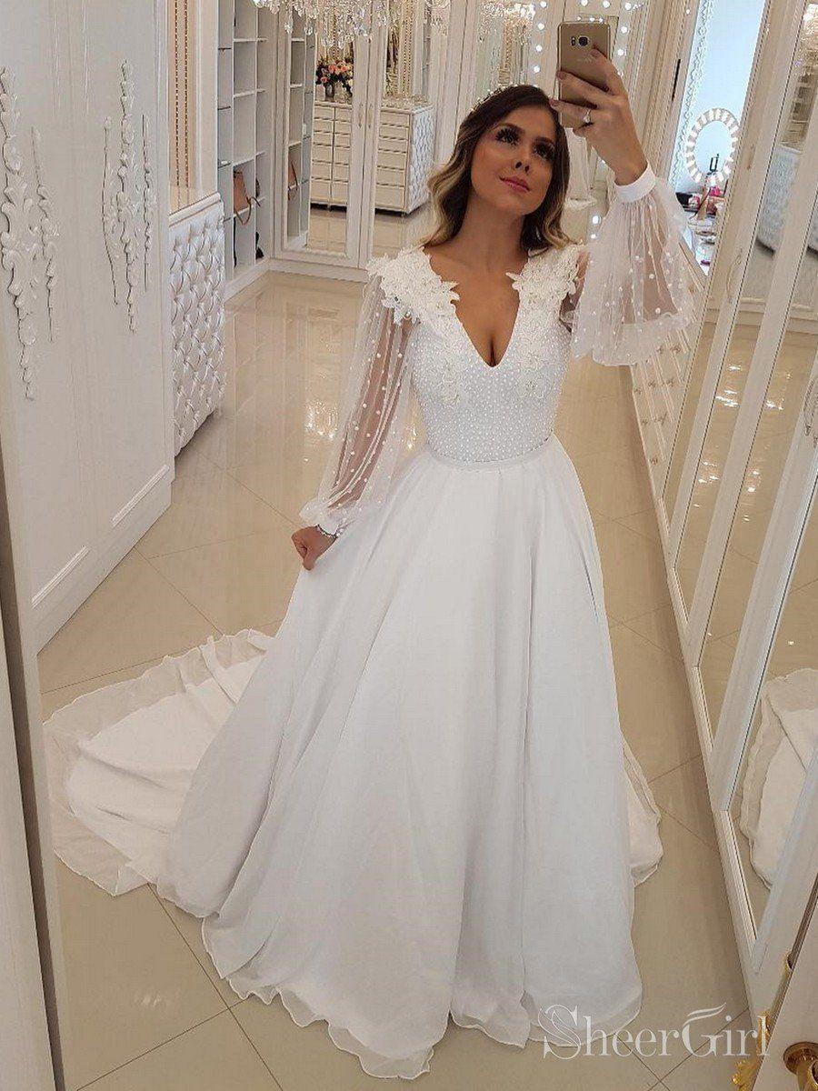 Long sleeve v neck wedding dresses floral applique boho