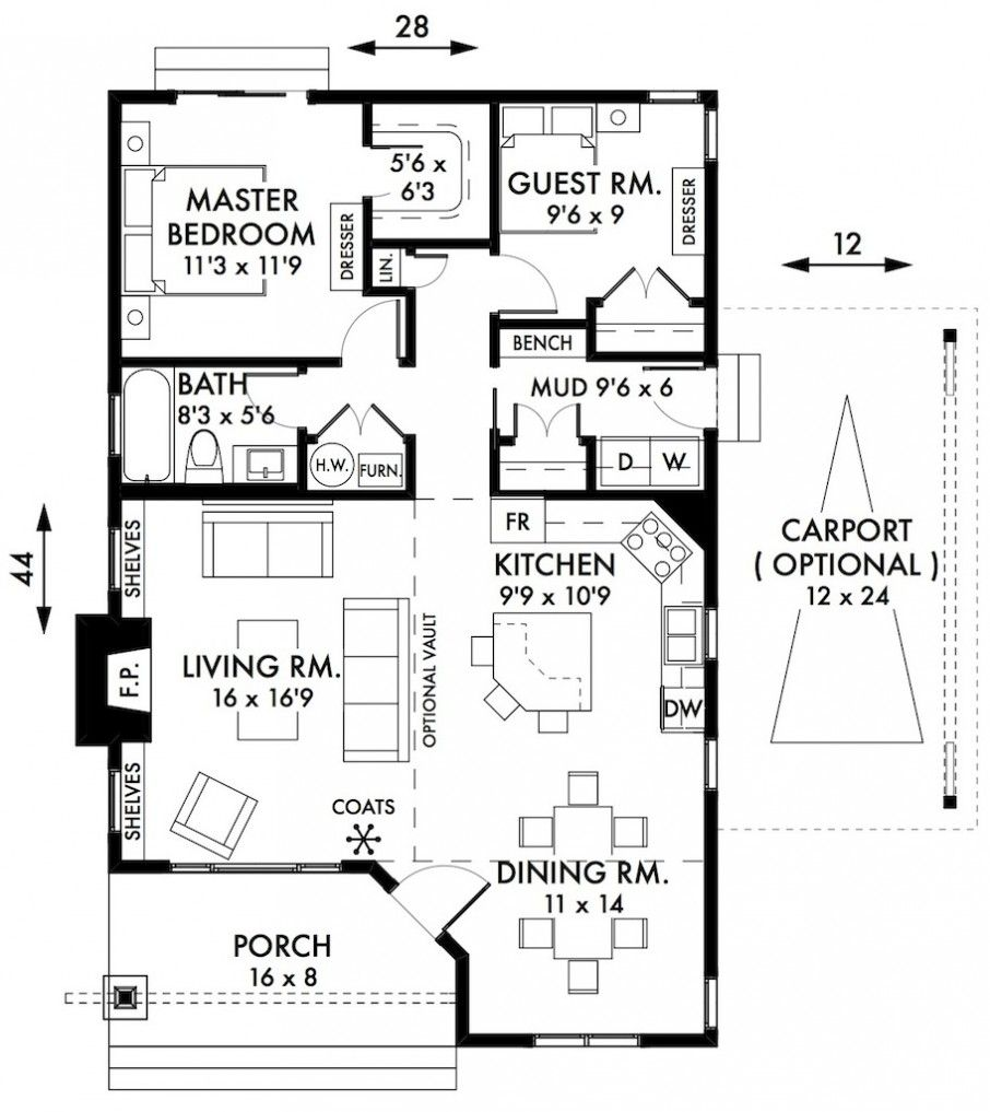 Stylish two bedroom house plans to realize awesome two Cottage floor