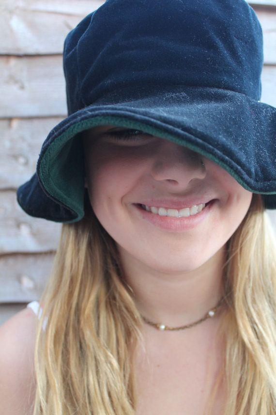 Vintage 80 s 90 s black velvet floppy bucket hat by ShellysRelics ... 93c6fd6d1c21