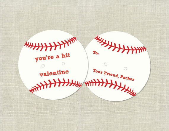 Baseball Valentines Day Cards Circular Lollipop Or Candy