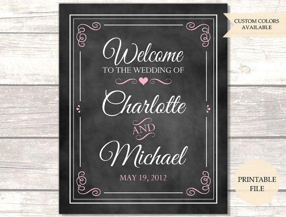 Chalkboard Wedding Welcome Sign Printable File Welcome To Our Wedding Sign Welcome Sign Wedding Welcome Signs Wedding Chalkboard Signs Chalkboard Wedding