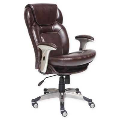 Serta Wellness By Design Mid Back Leather Office Chair In Brown