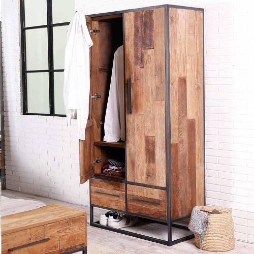 Armoire teck recyclé URBAN 100cm 2 portes 2 tiroirs