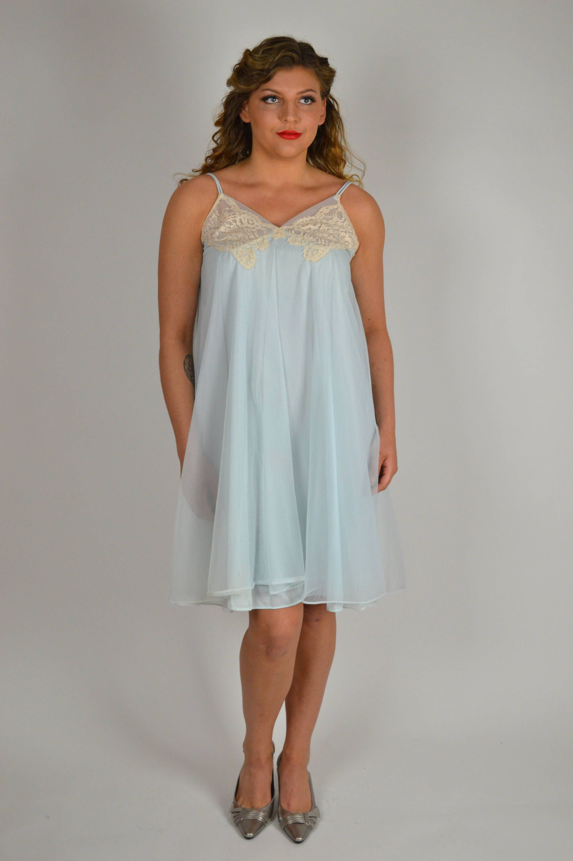 Vintage Lingerie Vintage Nightgown Baby Blue Nightie S Nightgown Sheer Nightgown Below The Knee Lace Nightgown Bridal Nightgown By