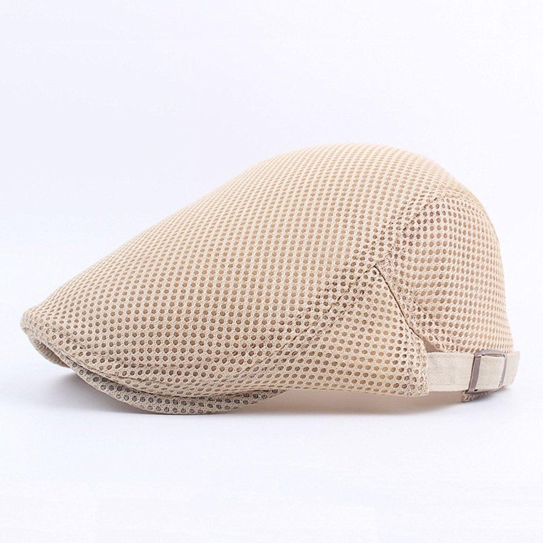 f415a633827 Men Breathable Mesh Summer hat Newsboy Beret Ivy Cap Cabbie Flat Cap ...