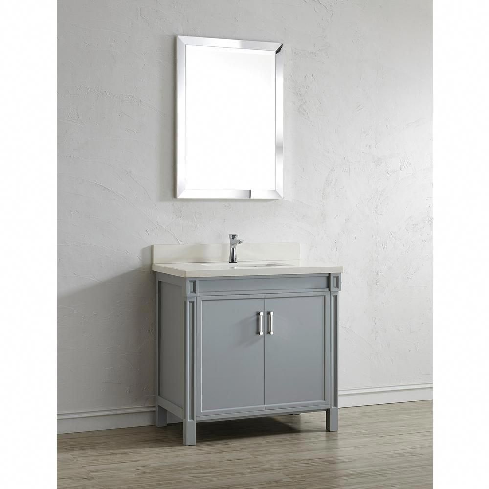 36 Inch Gray Finish Bathroom Vanity Quartz Top In White With