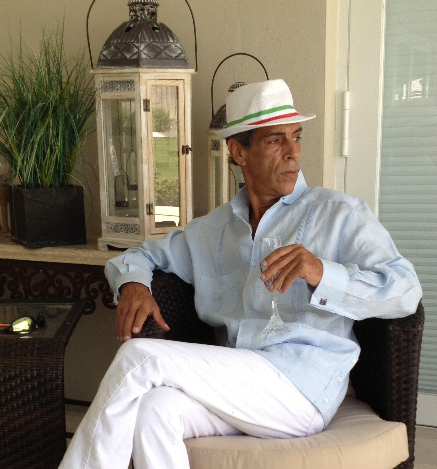 Men Linen Long Sleeve French Cuff Guayabera. Guayabera