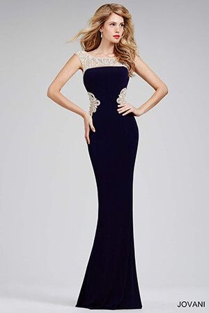 36a31558247 Navy Jersey Embellished Prom Dress 32231