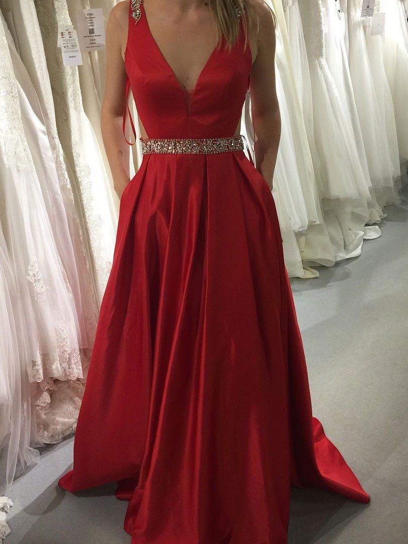 aline prom dresses long red v neck modest prom dress evening