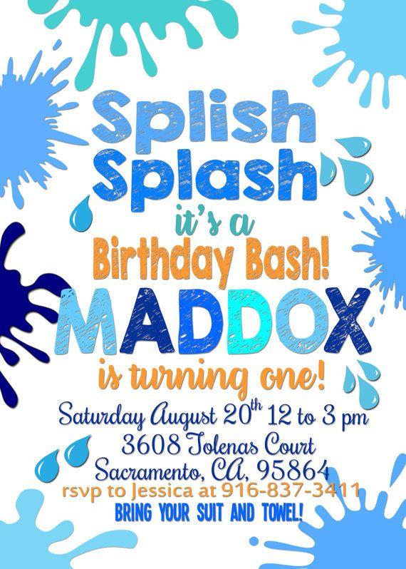 splish splash birthday invitation and thank you card boy birthday