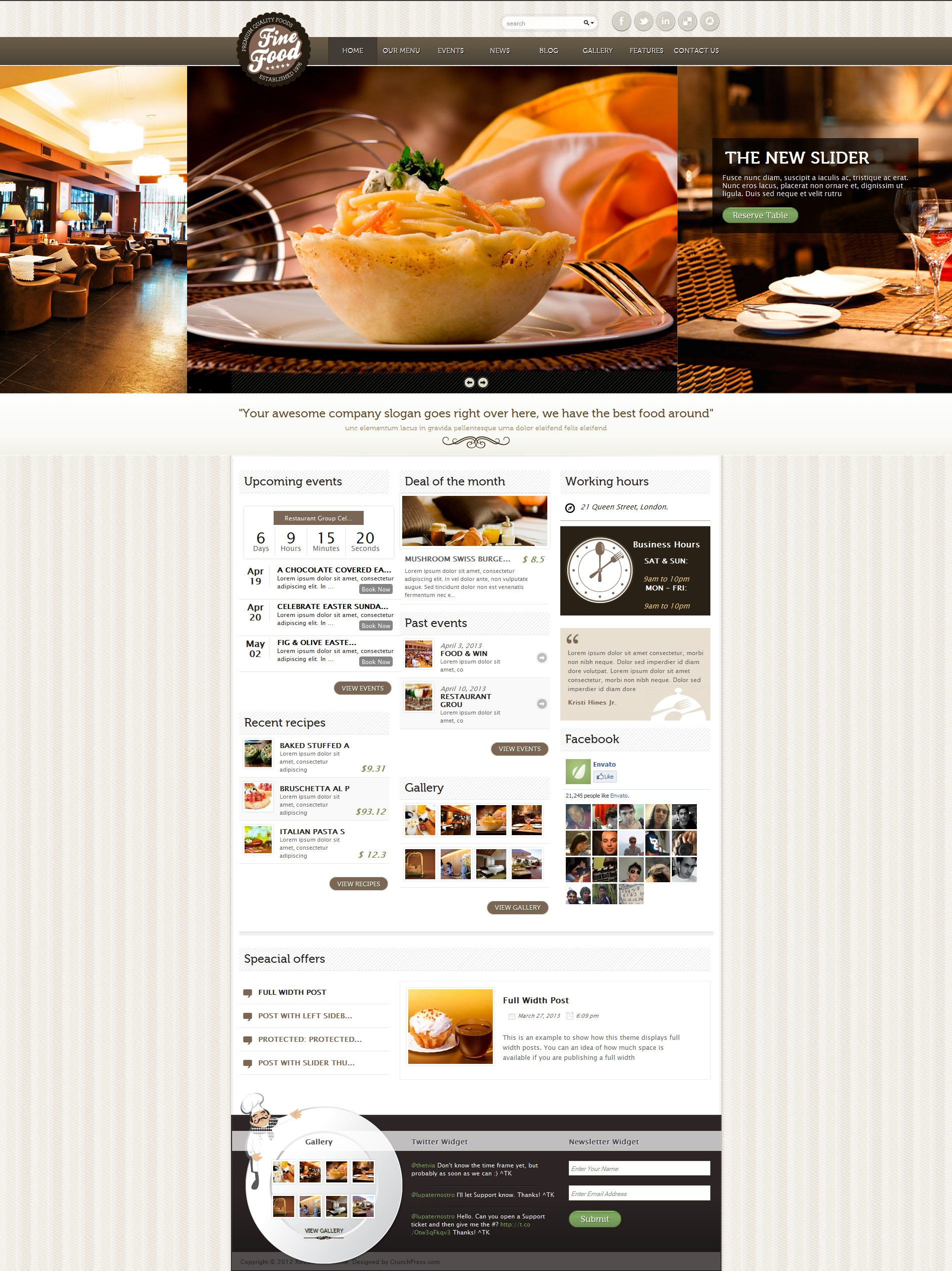 Fine food restaurant responsive wordpress theme