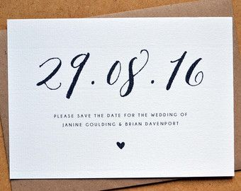 Rustic Vintage Barn SAMPLE ONLY Save the Date Personalised A6 Calligraphy Heart Wedding Save the Date including C6 Kraft Envelope