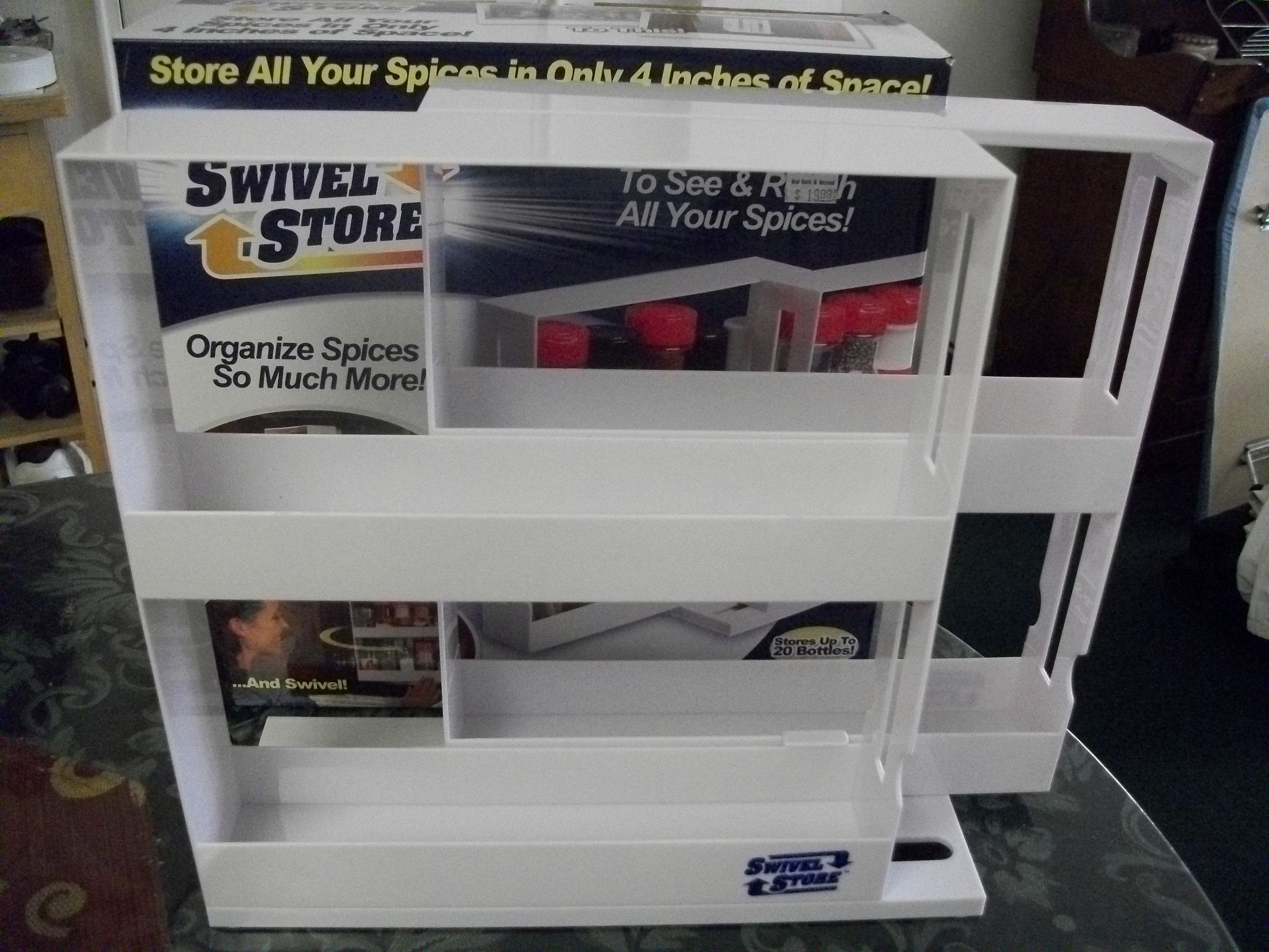 The Swivel Store helps you get organized and at the same time helps you increase cabinet space.