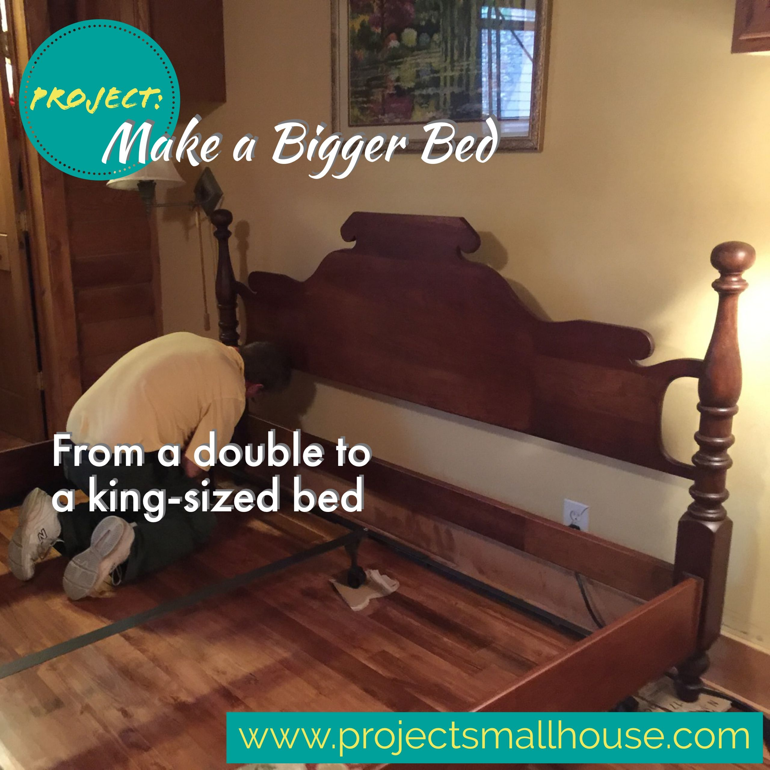 Widening a full bed to make a kingsized bed.