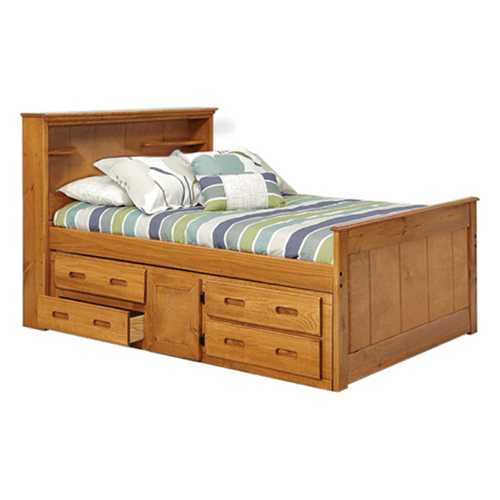 Solid Wood Heartland Twin Bookcase Captains Bed With Underbed Storage More Than A Furniture Store Captains Bed Bed With Underbed Under Bed Storage Solid wood captain's bed twin