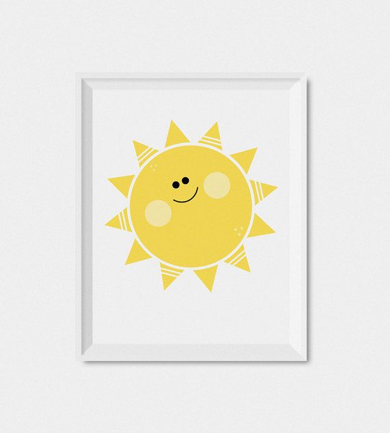 Sun Kids Wall Art Print Nursery Print Printable Kids Art