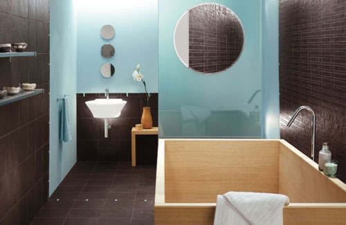 Bon Cool Turquoise Brown Contemporary Bathroom With Round Mirror