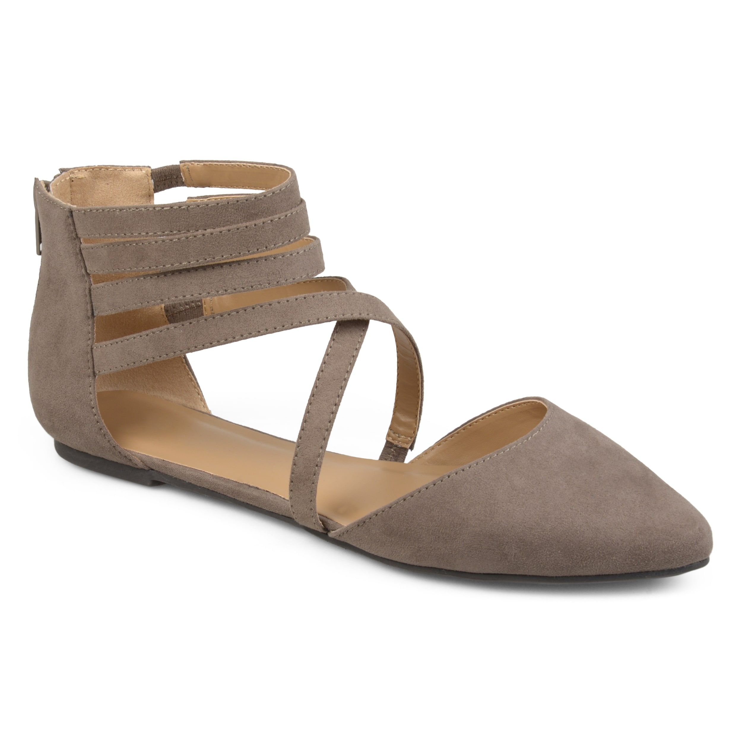 5f7394c5e442 Journee Collection Women s  Marlee  Wrap Strap Faux Suede Flats (Taupe- ...